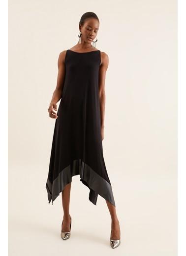 Quincey Deri Detaylı Asimetrik Elbise Siyah